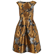 Buy Miss Selfridge Floral Jacquard Prom Dress, Bronze Online at johnlewis.com