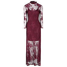 Buy True Decadence Sheer Split Maxi Dress, Burgundy Online at johnlewis.com