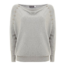 Buy Mint Velvet Silver Stud Batwing Knit, Grey Online at johnlewis.com