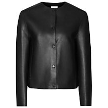 Buy Reiss Leather Adelise Bonded Jacket, Black Online at johnlewis.com