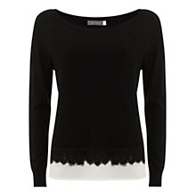 Buy Mint Velvet Felt Hem Jumper, Black/Ivory Online at johnlewis.com