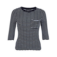 Buy Miss Selfridge Stripe Scallop Jumper, Navy Online at johnlewis.com