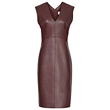 Buy Reiss Leather Arnis Dress, Deep Bordeaux Online at johnlewis.com