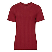 Buy Reiss Megan Short Sleeve Knitted Top, Crimson Online at johnlewis.com