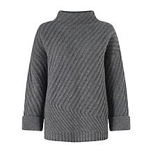 Buy Jigsaw Diagonal Rib Jumper, Grey Online at johnlewis.com