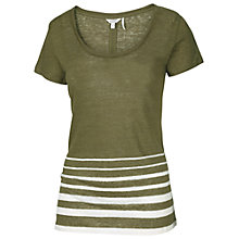 Buy Fat Face Linen Split Back Stripe Top, Dusty Peridot Online at johnlewis.com