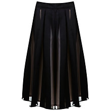 Buy Miss Selfridge Striped Organza Midi Skirt, Black Online at johnlewis.com