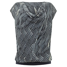 Buy Mint Velvet Ivy Print Button Cowl Top, Charcoal Online at johnlewis.com