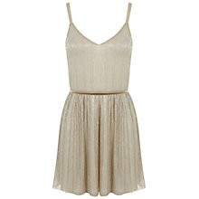 Buy Miss Selfridge Petites Skater Dress, Gold Online at johnlewis.com