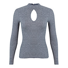 Buy Miss Selfridge Keyhole Rib Top, Mid Grey Online at johnlewis.com
