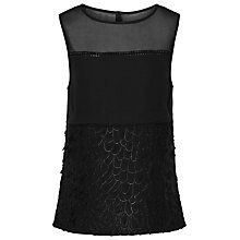 Buy Reiss Valentina Texture Detail Top, Black Online at johnlewis.com