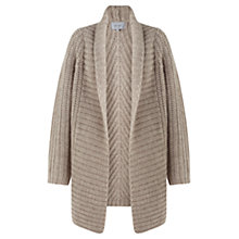 Buy Jigsaw Heavy Rib Throw Cardigan, Oatmeal Online at johnlewis.com