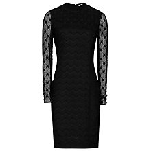 Buy Reiss Lara Lace Mix Dress, Black Online at johnlewis.com