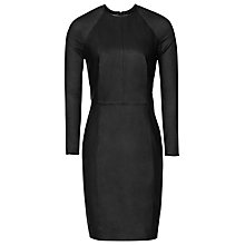Buy Reiss Elodie Leather And Chiffon Dress, Black Online at johnlewis.com