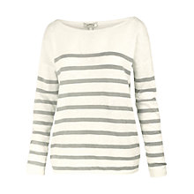 Buy Fat Face Billacombe Stripe Knit, Cream/Grey Online at johnlewis.com