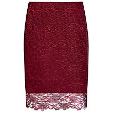 Buy Reiss Dree Crimson Lace Pencil Skirt, Crimson Online at johnlewis.com