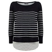 Buy Mint Velvet Pearl Print Stripe Knit, Navy Online at johnlewis.com