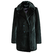 Buy Reiss Terri Faux Fur Pea Coat, Racing Green Online at johnlewis.com