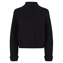Buy Karen Millen Merino Wool Cable Knit Jumper, Black Online at johnlewis.com
