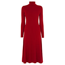 Buy Karen Millen Rib Knitted Roll Neck Dress, Red Online at johnlewis.com