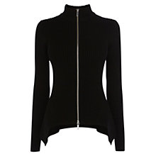 Buy Karen Millen Rib Knitted Zip Cardigan, Black Online at johnlewis.com