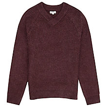 Buy Reiss Frankie Ribbed V Neck Jumper, Bordeaux Online at johnlewis.com