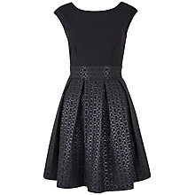 Buy Closet Jacquard Pleat Dress, Black Online at johnlewis.com