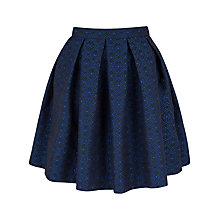 Buy Closet Jacquard Box Pleat Skirt, Blue Online at johnlewis.com