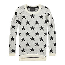 Buy Maison Scotch Fluffy Star Jumper, White/Black Online at johnlewis.com