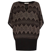 Buy Oasis Aztec Notch Neck Top, Black Online at johnlewis.com