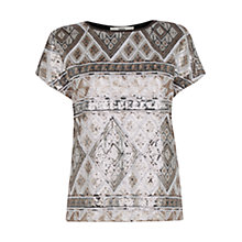 Buy Oasis Aztec Sequin T-Shirt, Multi Online at johnlewis.com