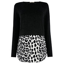 Buy Oasis Animal Print Hem Top, Mid Grey Online at johnlewis.com
