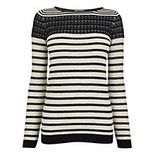 Buy Oasis Stripe Sparkle Pointelle Top, Multi Online at johnlewis.com
