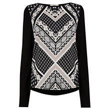Buy Oasis Geometric Stripe Woven Front Top, Black Online at johnlewis.com
