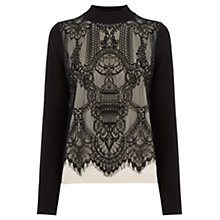 Buy Oasis Contrast Lace Knit, Black and White Online at johnlewis.com
