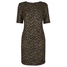 Buy Oasis Popcorn Zig Zag Shift Dress, Black Online at johnlewis.com