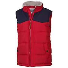 Buy Fat Face Boys' Fleece Collar Gilet, Red Online at johnlewis.com