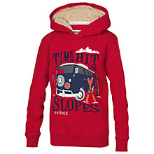 Buy Fat Face Boys' Van Hooded Sweatshirt, Red Online at johnlewis.com