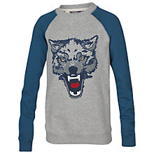 Buy Fat Face Boys' Wolf Crew Sweatshirt, Grey Online at johnlewis.com