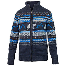 Buy Fat Face Boys' Bear Fair Isle Zip Through Sweater, Blue Online at johnlewis.com