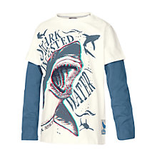 Buy Fat Face Boys' 3D Shark Print Long Sleeve T-Shirt, Ecru/Blue Online at johnlewis.com