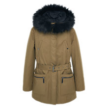 Buy Mango Cotton Hooded Coat, Beige/Khaki Online at johnlewis.com