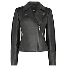 Buy Oasis Penny Leather Biker Jacket, Black Online at johnlewis.com
