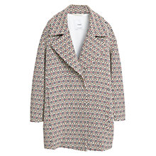 Buy Mango Mosaic Cotton Blend Coat, Black Online at johnlewis.com