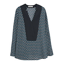 Buy Mango Flowy Printed Blouse, Black Online at johnlewis.com