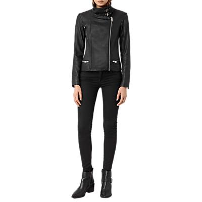 AllSaints Bales Leather Biker Jacket, Black