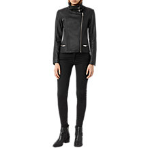 Buy AllSaints Bales Leather Biker Jacket, Black Online at johnlewis.com