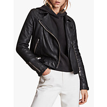Buy AllSaints Conroy Leather Biker Jacket, Ink Online at johnlewis.com