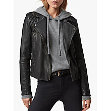 Buy AllSaints Leather Cargo Biker Jacket Online at johnlewis.com