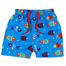 Buy John Lewis Baby Fish Print Board Shorts, Blue Online at johnlewis.com
